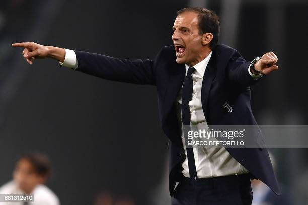 Juventus' coach Massimiliano Allegri reacts during the Italian Serie A football match Juventus Vs Lazio on October 14 2017 at the 'Allianz Stadium'...