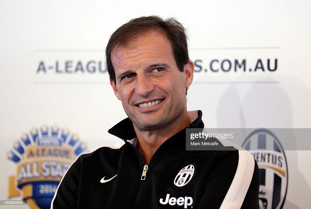 Juventus Coach <a gi-track='captionPersonalityLinkClicked' href=/galleries/search?phrase=Massimiliano+Allegri&family=editorial&specificpeople=3470667 ng-click='$event.stopPropagation()'>Massimiliano Allegri</a> speaks to the media during the Juventus media conference at Sydney Opera House on August 8, 2014 in Sydney, Australia.