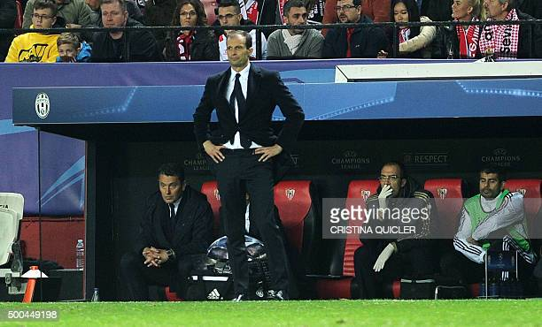 Juventus' coach Massimiliano Allegri stands on the sideline during the UEFA Champions League Group D football match Sevilla FC vs Juventus at the...