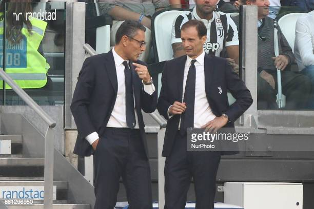 Juventus coach Massimiliano Allegri talks with Juventus assistant coach Marco Landucci during the Serie A football match n8 JUVENTUS LAZIO on at the...
