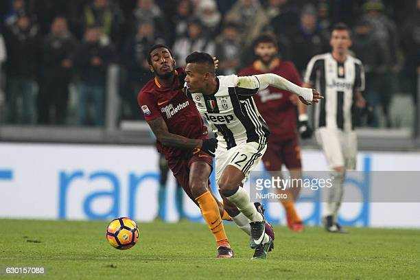 Juventus defender Alex Sandro vies Gerson of As Roma during the Serie A football match n17 JUVENTUS ROMA on at the Juventus Stadium in Turin Italy