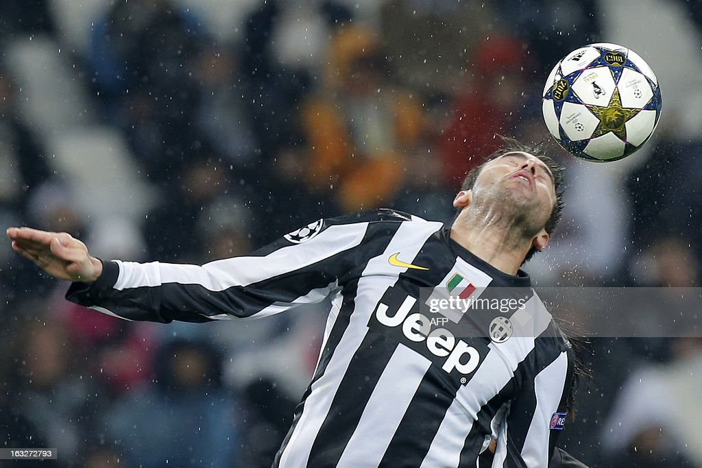Juventus' defender Andrea Barzagli jumps for the ball during the Champions League match Juventus vs Celtic FC on March 6, 2013 at the 'Juventus Stadium' in Turin.