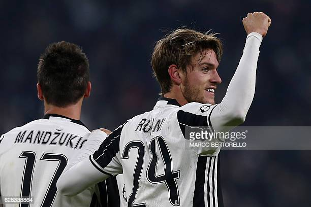 Juventus' defender Daniele Rugani celebrates after scoring during the UEFA Champions League football match Juventus Vs GNK Dinamo Zagreb on December...