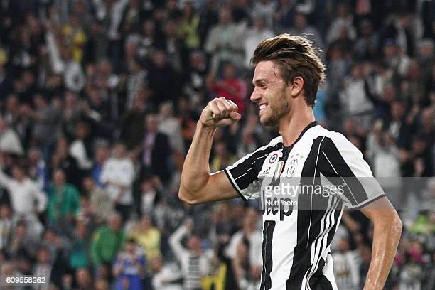 Juventus defender Daniele Rugani celebrates after scoring his goal during the Serie A football match n5 JUVENTUS CAGLIARI on at the Juventus Stadium...