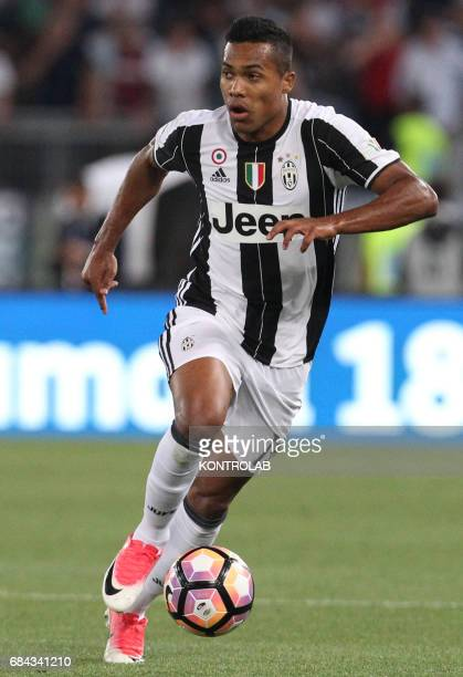 Juventus' defender from Brazil Alex Sandro controls the ball during the TIM Italy Cup Final football match SS Lazio vs Juventus FC at the Olimpico...