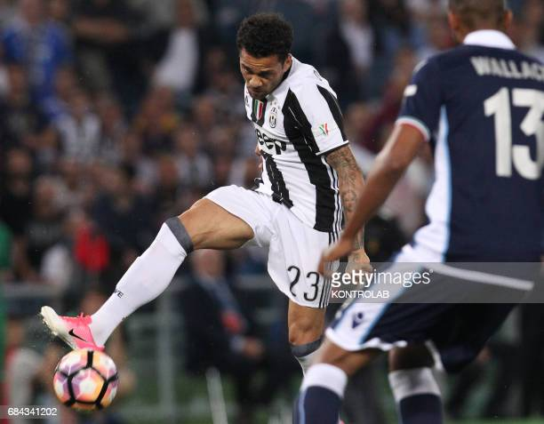 Juventus' defender from Brazil Dani Alves kicks to score during the TIM Italy Cup Final football match SS Lazio vs Juventus FC at the Olimpico...