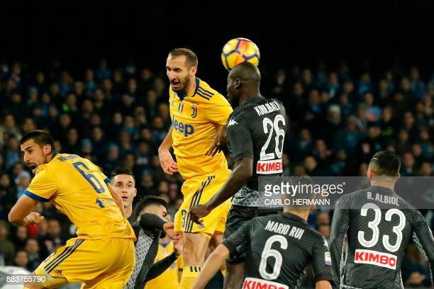 Juventus' defender from Italy Giorgio Chiellini fights for the ball with Napoli's defender from France Kalidou Koulibaly during the Italian Serie A...
