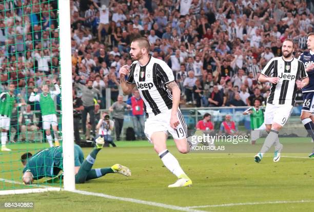 Juventus' defender from Italy Leonardo Bonucci celebrates after scoring during the TIM Italy Cup Final football match SS Lazio vs Juventus FC at the...