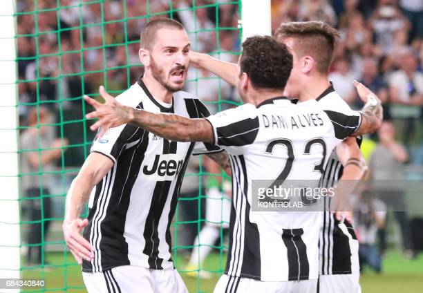 Juventus' defender from Italy Leonardo Bonucci celebrates after scoring with teammates during the TIM Italy Cup Final football match SS Lazio vs...