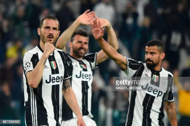 Juventus' defender from Italy Leonardo Bonucci Juventus' defender from Italy Andrea Barzagli and Juventus midfielder from Venezuela Tomas Rincon...