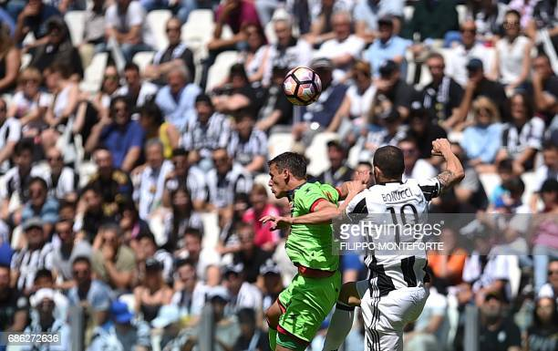 Juventus' defender from Italy Leonardo Bonucci vies with Crotone's forward Andrea Nalini during the Italian Serie A football match Juventus vs...