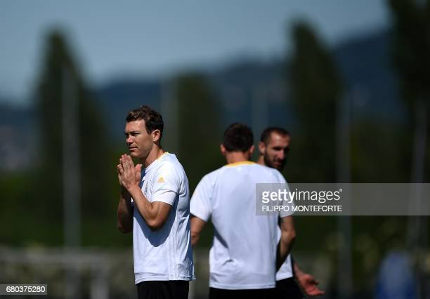 Juventus defender from Switzerland Stephan Lichtsteiner takes part in a training session on the eve of the UEFA Champion's League semifinal 2nd leg...