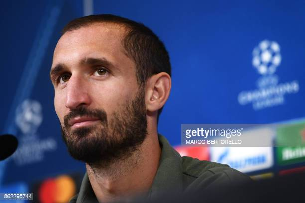Juventus' defender Giorgio Chiellini attends a press conference on the eve of the UEFA Champions League football match Juventus Vs Sporting CP...