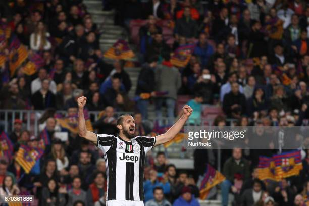 Juventus defender Giorgio Chiellini celebrates victory after the Uefa Champions League quarter finals football match BARCELONA JUVENTUS on at the...