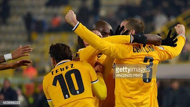 Juventus' defender Giorgio Chiellini celebrates with teammates after scoring during the Serie A football match Bologna vs Juventus at Renato Dall'Ara...