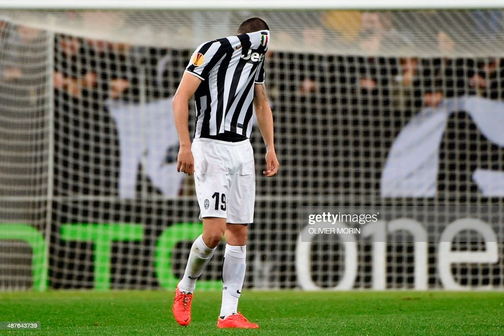 Juventus' defender Giorgio Chiellini reacts at the end of the UEFA Europa League semifinal football match Juventus vs Benfica on May 1st, 2014 at the Juventus Stadium in Turin. Ten-man Benfica resisted a Juventus onslaught in a scoreless draw in Turin to qualify for their second successive Europa League final after a 2-1 aggregate score.