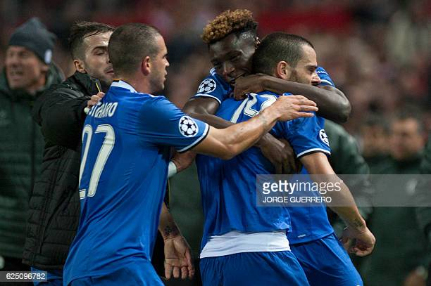 Juventus' defender Leonardo Bonucci celebrates a goal with teammates during the UEFA Champions League football match Sevilla FC vs Juventus at the...