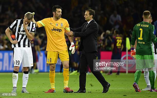 Juventus' defender Leonardo Bonucci Juventus' goalkeeper and captain Gianluigi Buffon and Juventus' coach Massimiliano Allegri react after the UEFA...