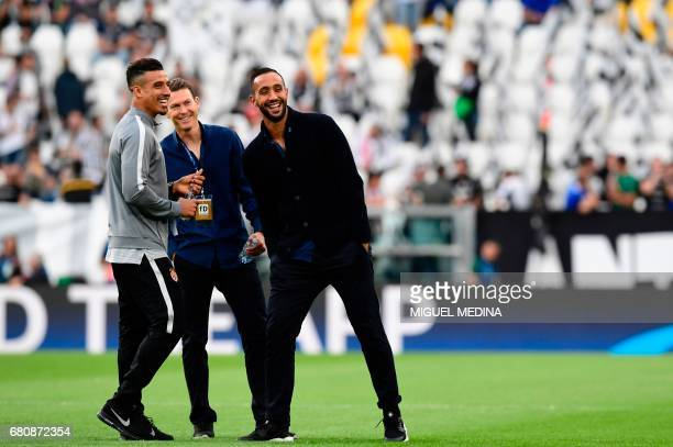 Juventus' defender Medhi Benatia and Juventus' defender from Switzerland Stephan Lichtsteiner chat with Monaco's Moroccan midfielder Nabil Dirar...