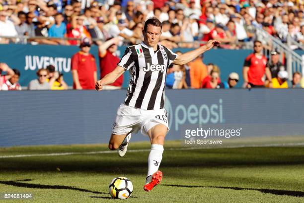 Juventus defender Stephan Lichtsteiner crosses the ball during an International Champions Cup match between AS Roma and Juventus on July 30 at...