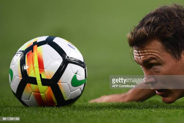 Juventus' defender Stephan Lichtsteiner from Switzerland eyes the ball during the Italian Serie A football match Juventus Vs Lazio on October 14 2017...