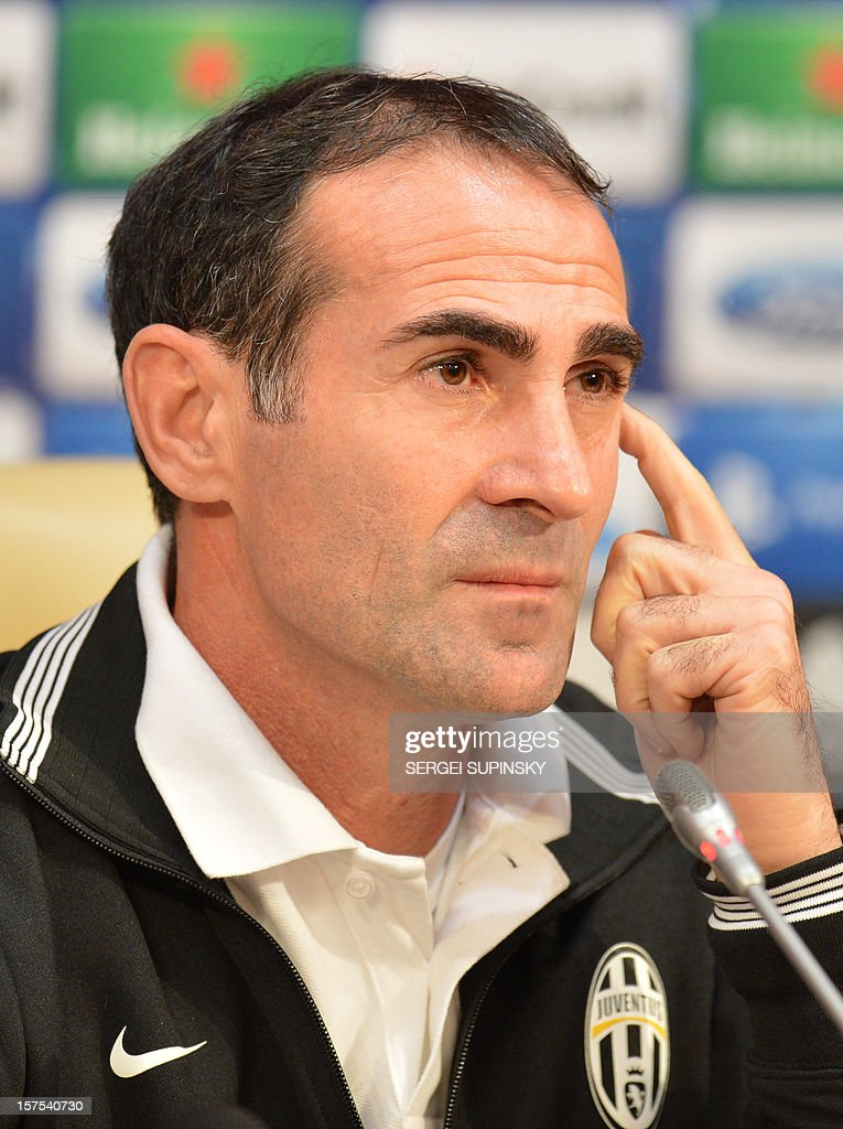 Juventus deputy coach assistant Angelo Alessio gives a press-conference in Donetsk on December 4, 2012, on the eve of the UEFA Champions League football match Juventus Turin vs FC Shakhtar Donetsk.
