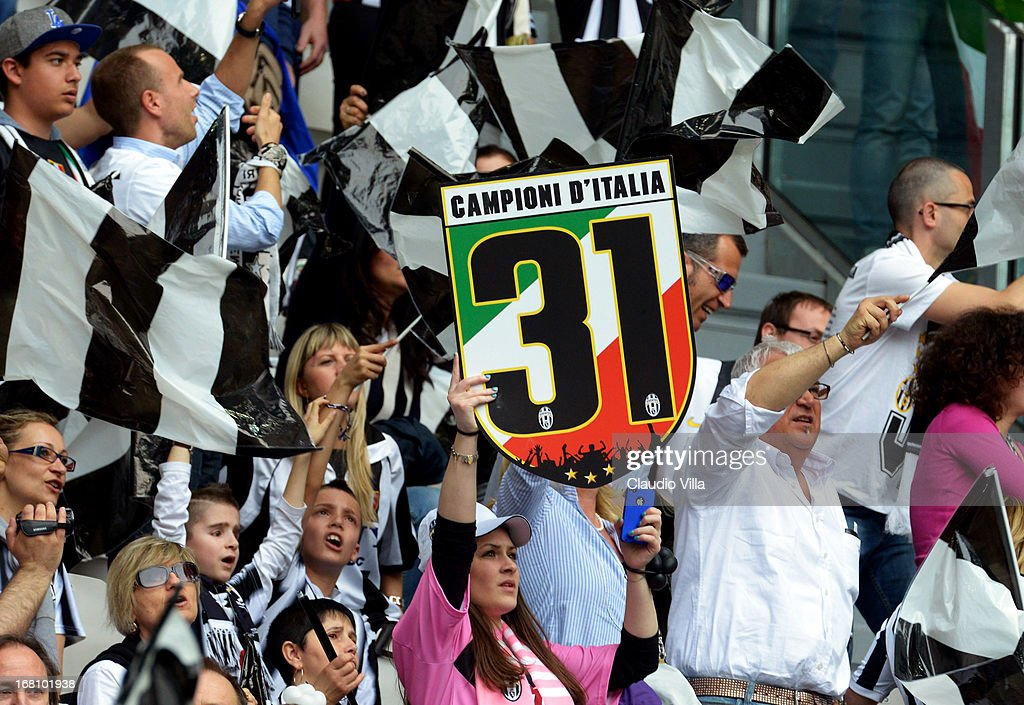 Juventus fans show their support during the Serie A match between Juventus and US Citta di Palermo at Juventus Arena on May 5, 2013 in Turin, Italy.