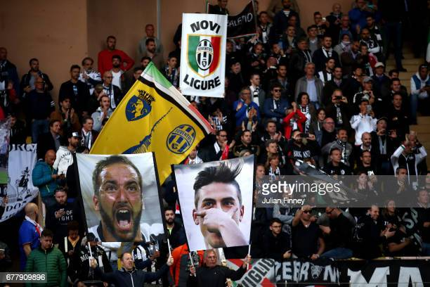 Juventus fans show their support proir to the UEFA Champions League Semi Final first leg match between AS Monaco v Juventus at Stade Louis II on May...