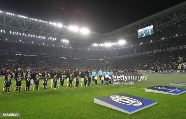 Juventus FC and FC Porto teams line up before the UEFA Champions League Round of 16 second leg match between Juventus and FC Porto at Juventus...