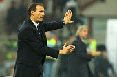 Juventus FC coach Massimiliano Allegri gestures during the Serie A match between FC Internazionale Milano and Juventus FC at Stadio Giuseppe Meazza...