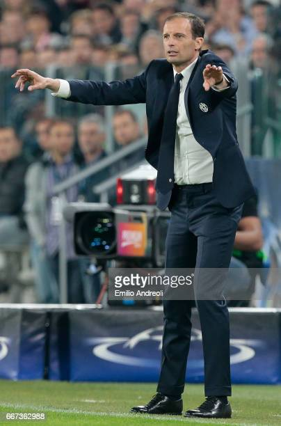 Juventus FC coach Massimiliano Allegri issues instructions to his players during the UEFA Champions League Quarter Final first leg match between...