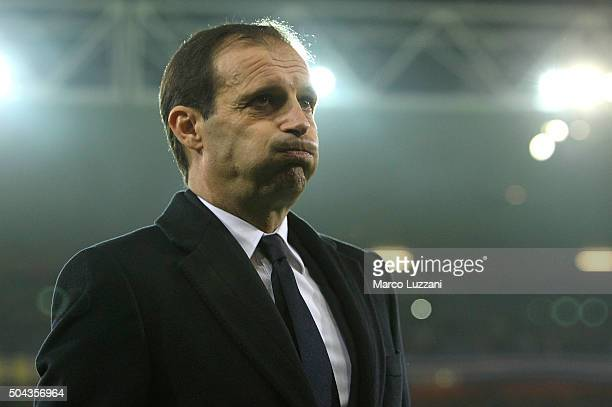 Juventus FC coach Massimiliano Allegri looks on before the Serie A match between UC Sampdoria and Juventus FC at Stadio Luigi Ferraris on January 10...