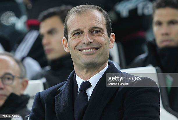 Juventus FC coach Massimiliano Allegri looks on before the Serie A match between Juventus FC and AS Roma at Juventus Arena on January 24 2016 in...