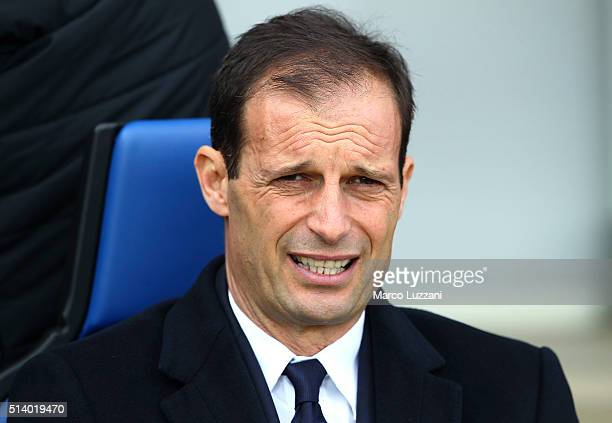 Juventus FC coach Massimiliano Allegri looks on before the Serie A match between Atalanta BC and Juventus FC at Stadio Atleti Azzurri d'Italia on...