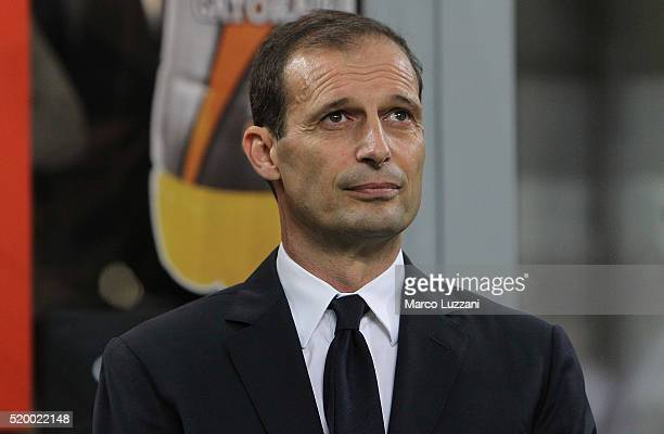 Juventus FC coach Massimiliano Allegri looks on before the Serie A match between AC Milan and Juventus FC at Stadio Giuseppe Meazza on April 9 2016...