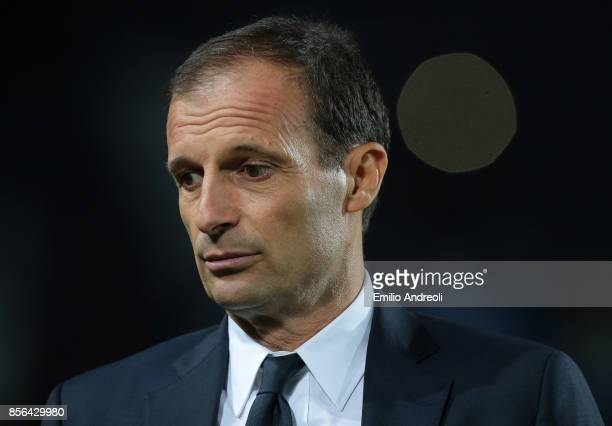 Juventus FC coach Massimiliano Allegri looks on before the Serie A match between Atalanta BC and Juventus at Stadio Atleti Azzurri d'Italia on...