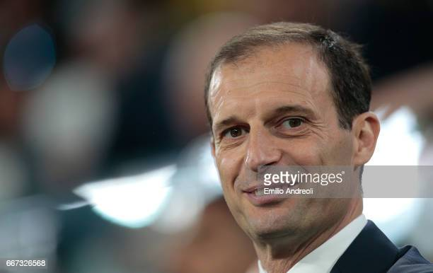 Juventus FC coach Massimiliano Allegri looks on before the UEFA Champions League Quarter Final first leg match between Juventus and FC Barcelona at...