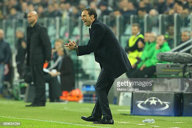 Juventus FC coach Massimiliano Allegri shouts to his players during the UEFA Champions League group stage match between Juventus and VfL Borussia...