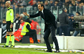 Juventus FC coach Massimiliano Allegri shouts to his players during the Serie A match betweeen Juventus FC and ACF Fiorentina at Juventus Arena on...