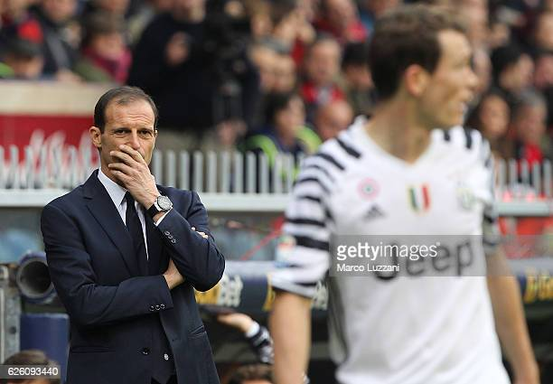 Juventus FC coach Massimiliano Allegri shows his dejection during the Serie A match between Genoa CFC and Juventus FC at Stadio Luigi Ferraris on...