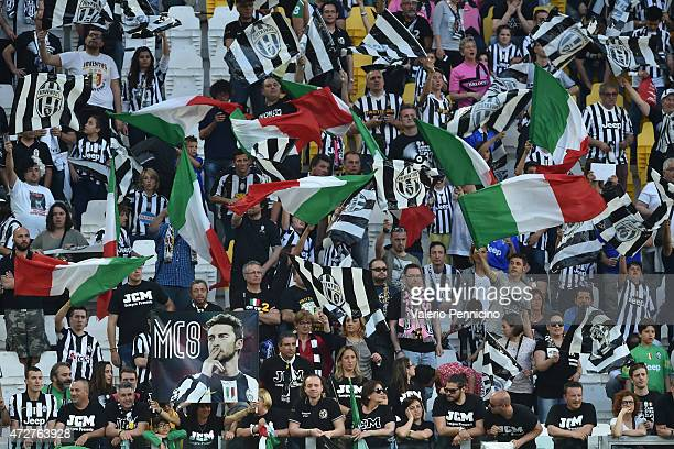 Juventus FC fans celebrate the players at the end of the Serie A match between Juventus FC and Cagliari Calcio at Juventus Arena on May 09 2015 in...