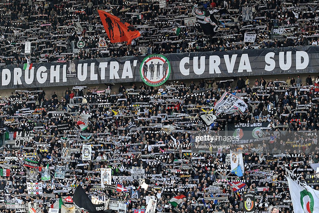 Juventus FC fans display a giant banner during the Serie A match between FC Juventus and Calcio Catania at Juventus Arena on March 10, 2013 in Turin, Italy.