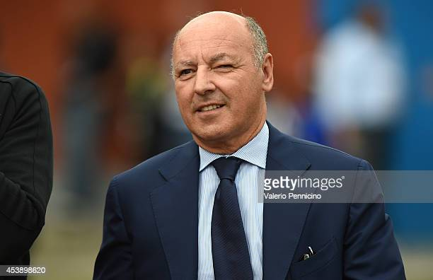 Juventus FC general manager Beppe Marotta looks on prior to the preseason friendly match between Juventus A and Juventus B on August 20 2014 in...