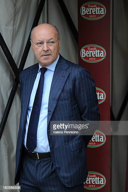 Juventus FC general manager Beppe Marotta looks on prior to the Serie A match between Torino FC and Juventus at Stadio Olimpico di Torino on...