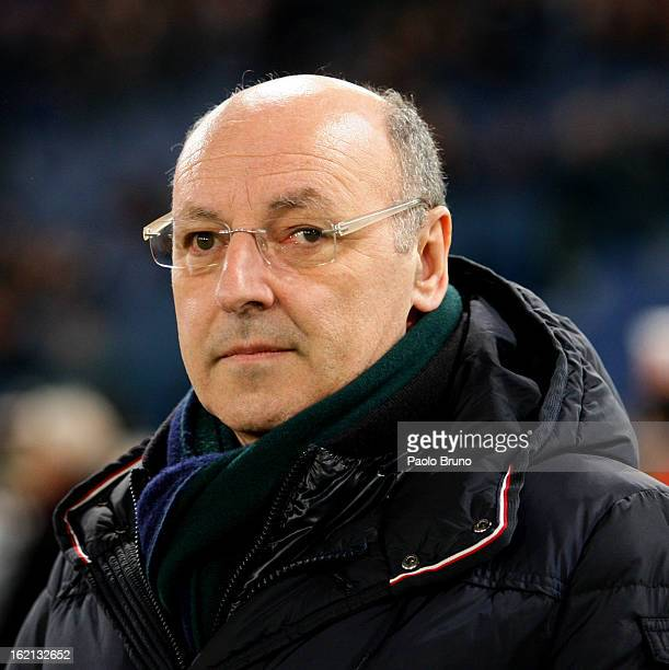 Juventus FC General Manager Giuseppe Marotta looks on during the Serie A match between AS Roma and Juventus FC at Stadio Olimpico on February 16 2013...