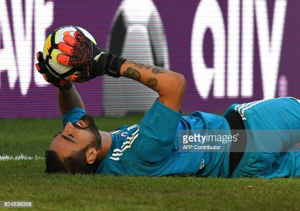 Juventus FC goalkeeper Carlo Pinsoglio makes a saves during penalty kicks against Roma during their 2017 International Champions Cup match at...