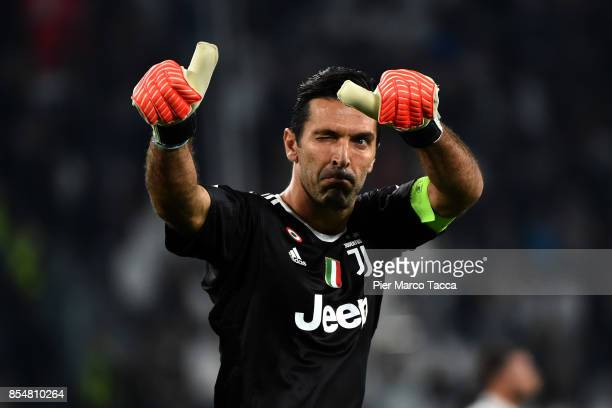 Juventus FC goalkeeper Gianluigi Buffon gestures during the UEFA Champions League group D match between Juventus and Olympiakos Piraeus at Juventus...