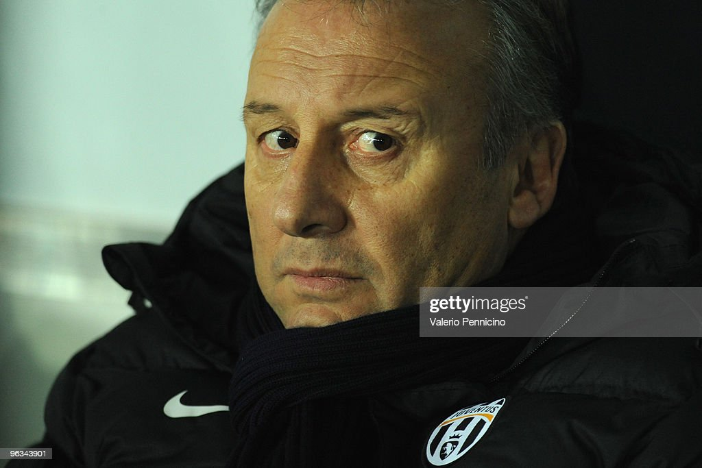 Juventus FC head coach Alberto Zaccheroni sits on the bench before the Serie A match between Juventus FC and SS Lazio at Stadio Olimpico di Torino on...