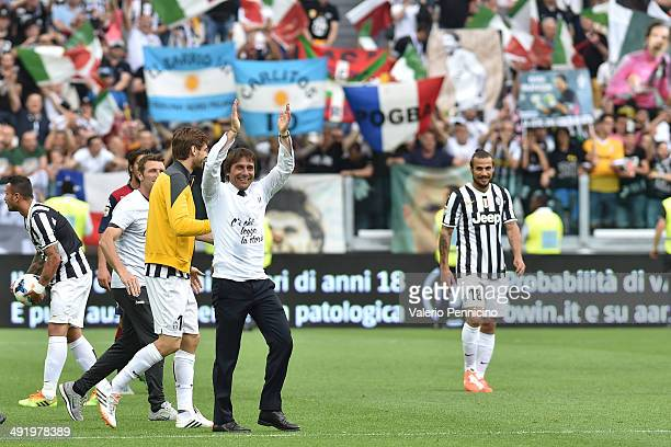 Juventus FC head coach Antonio Conte celebrates 102 points in the championship at the end of the Serie A match between Juventus and Cagliari Calcio...