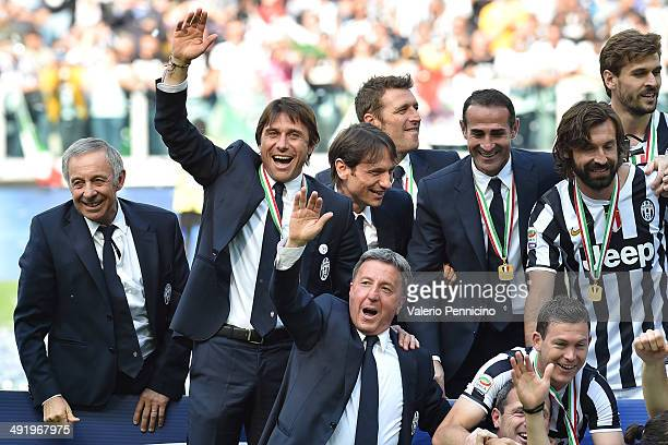 Juventus FC head coach Antonio Conte celebrates at the end of the Serie A match between Juventus and Cagliari Calcio at Juventus Arena on May 18 2014...